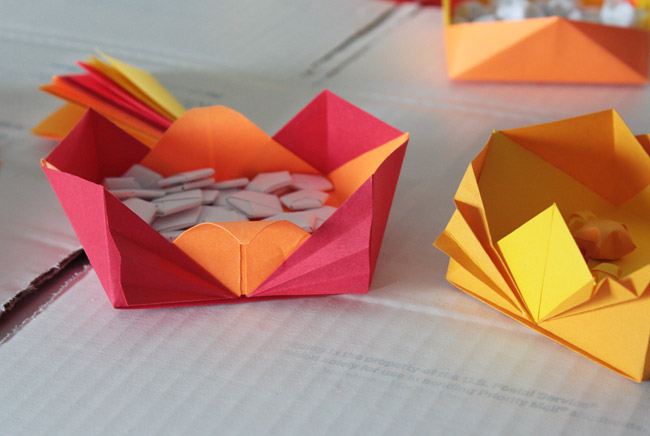 Origami bowls made from Fabulous Origami Boxes by Tomoko Fuse
